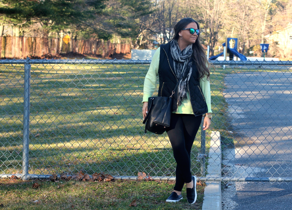 missyonmadison, melissa tierney, long island, long island blogger, long island photography, otsego park, black slip on sneakers, yellow sweatshirt, yellow sweater, green wayfarer sunglasses, black leggings, black quilted vest, outfit inspo, ootd, spring style, tgif, casual friday, spring outfit trends, poshmark, gold timex watch, gold watch, resale, online shopping,