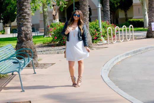 missyonmadison, fashion blog, fashion blogger, lace up heels, reptile lace up heels, de blossom shoes, de blossom collection shoes, vera bradley, vera bradley crossbody, ami clubwear, white dress, little white dress, how to style a white dress, white low cut dress, womens leather jacket, moto jacket, reptile heels, nectar sunglasses, mirrored sunglasses, la blogger, spring style, lariat necklace, hairstyle, hair curling,