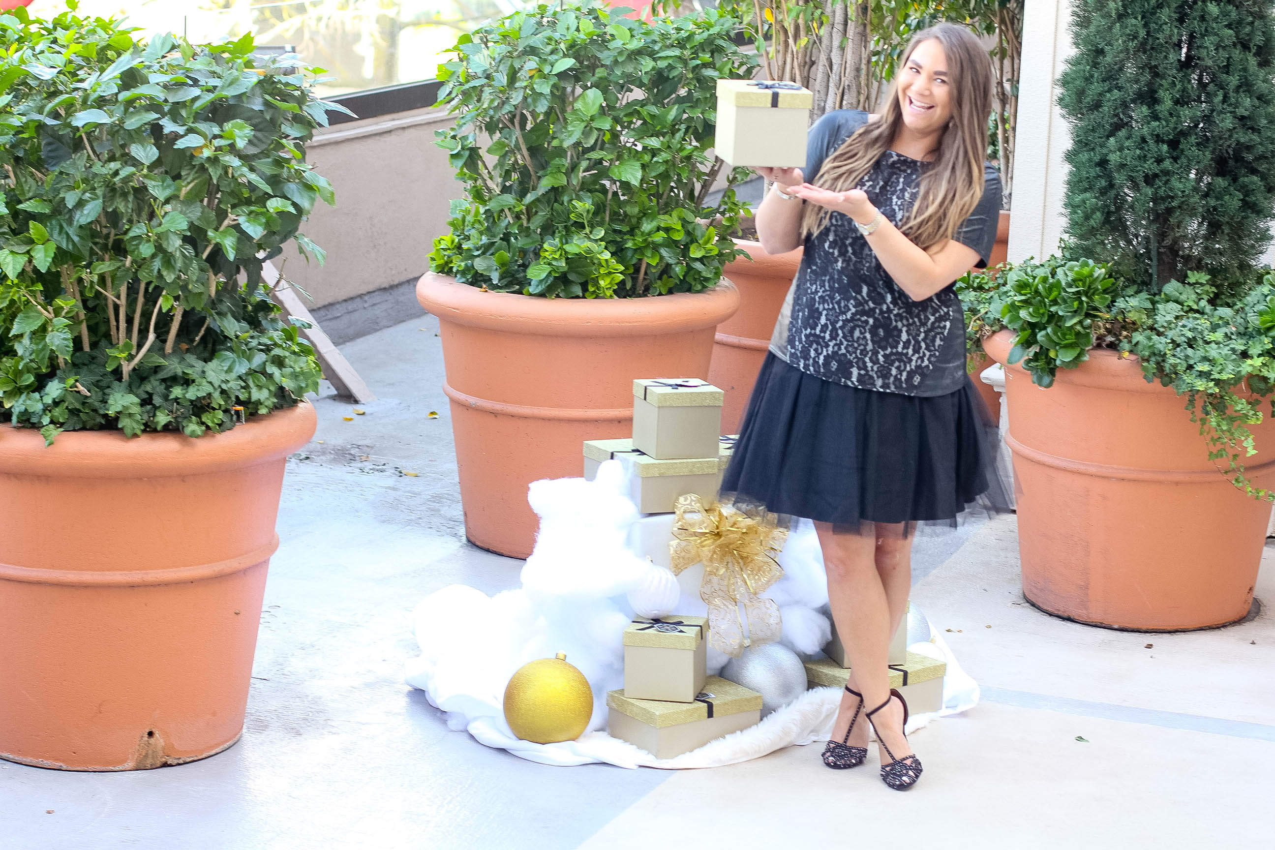 missyonmadison, melissa tierney, fashion blogger, fashion blog, fall style, holidays, holiday season, holiday dressing, what to wear for the holidays, tulle skirt, black tulle skirt, black t strap heels, black heels, holiday footwear, black floral blouse, black lace top, black faux leather top, louis vuitton toiletry pouch, louis vuitton toiletry pouch 26, la blogger, la style, what to wear for the holidays, beverly hills, beverly wilshire, rodeo drive, rodeo gives back, beverly hills holiday lighting celebration,