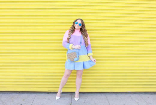 missyonmadison, missyonmadison blog, la blogger, missyonmadison instagram, style blog, style blogger, fashion blog, fashion blogger, easter outfit, easter outfit ideas, easter style inspo, rainbow striped sweater, pastel sweater, rainbow striped pastel sweater, blue skater skirt, baby blue skater skirt, white pointed toe pumps, white pumps, outfit blogger, outfit ideas, gucci camera bag, raybans, blue gucci bag,