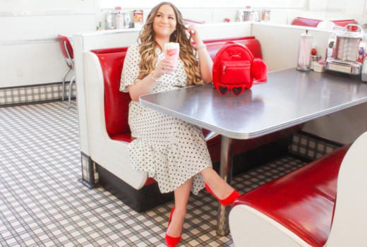 missyonmadison, missyonmadison blog, missyonmadison instagram, la blogger, bloglovin, johnny rockets, 50s photoshoot, polka dot dress, polka dot maxi dress, red backpack, red mini backpack, grafea backpack, red pumps, red suede pumps, red heels, red manolo blahnik heels,red jimmy choo heels, la blogger, style blog, style blogger, outfit inspo, hair extensions, white and black polka dot dress,