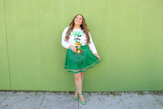 missyonmadison, missyonmadison instagram, disney tee, disney fashion, disney style, outfit inspo, outfit ideas, green skater skirt, green heels, green ark bag, what to wear for st patricks day, disneybound, disney outfit ideas, mickey st patricks day, mickey outfit,